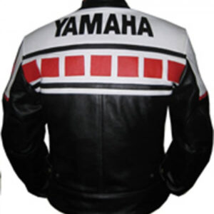 Yamaha Black White Red Motorcycle Leather Jacket