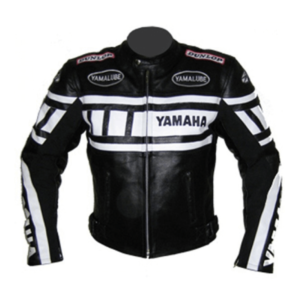 Yamaha Black and White Motorcycle Leather Jacket