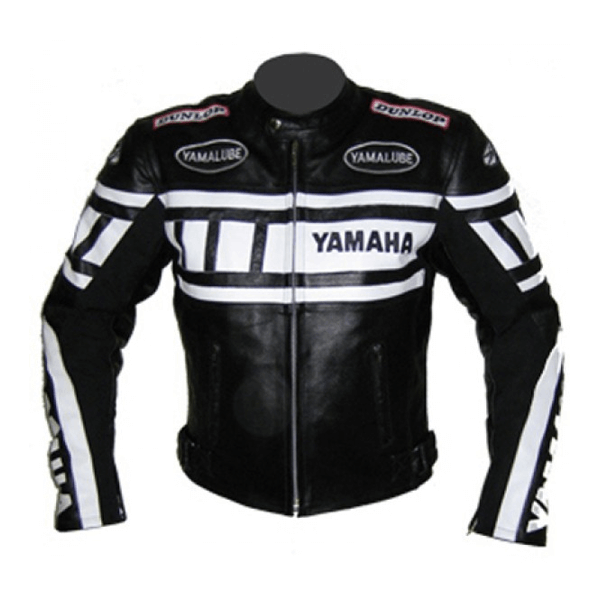 Yamaha Black and White Motorcycle Leather Jacket