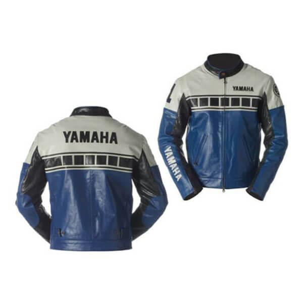 Yamaha Blue and Black Motorcycle Leather Jacket