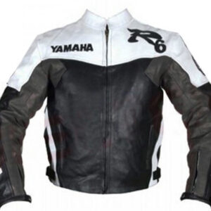 Yamaha R6 Black and White Motorcycle Leather Jacket