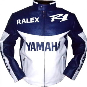 Yamaha White And Blue Motorcycle Leather Jacket