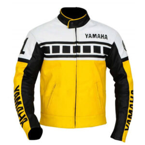 Yamaha Yellow Black White Motorcycle Leather Jacket