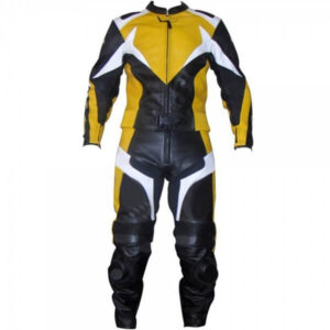 Yellow & Black Motorcycle Sports Racing Leather Suit