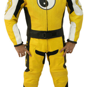 Yellow Motorcycle Racing Sports Leather Suit