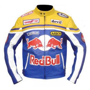 Yellow Red Bull Racing Motorcycle Leather Jacket