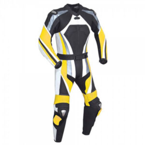 Yellow and Black Motorcycle Racing Leather Suit