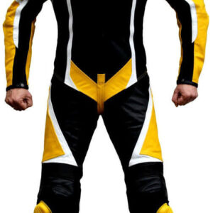 Yellow and Black Motorcycle Sports Racing Leather Suit