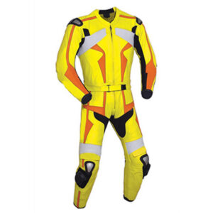 Yellow and Orange Motorcycle Racing Leather Suit