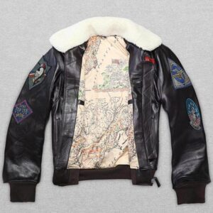 Black Patches bomber white fur leather jacket