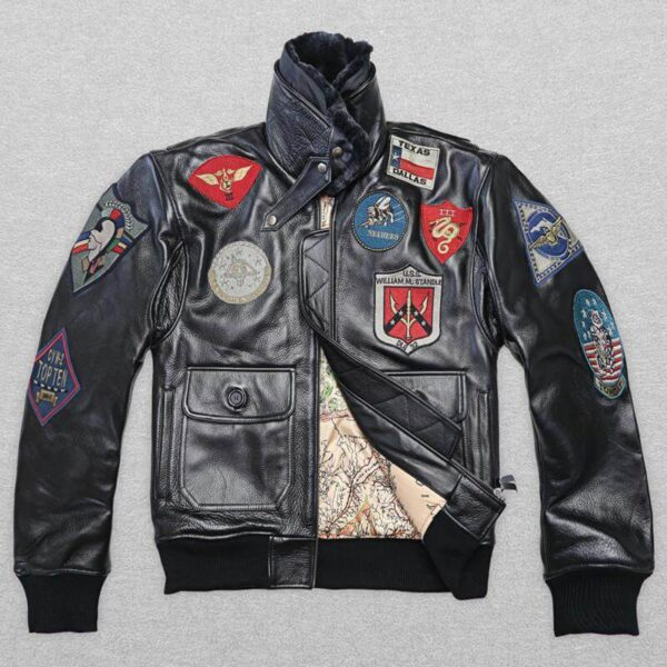 Black Patches bomber leather jacket