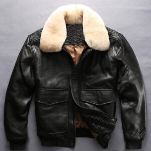 Black Men faux fur leather jacket