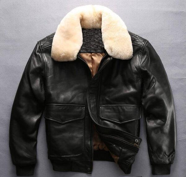 Black Men faux fur leather jacket