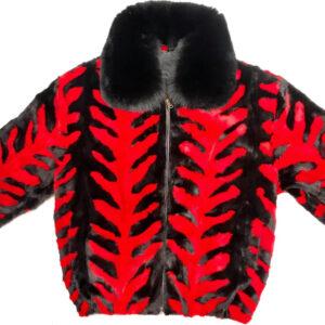 Black Cherry Mink Fur Fox Collar JacketBlack Cherry Mink Fur Fox Collar Jacket