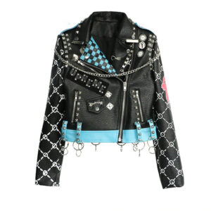 Black Punk Rock Fashion Studded Leather Jacket