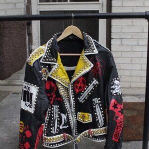 Black Punk Rock Studded Leather Jacket