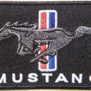 Black Vintage Ford Mustang Patch