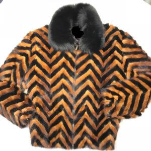 Black and Brown Mink Tail Fur Jacket
