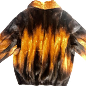 Black and Cognac Full Mink Fur Jacket