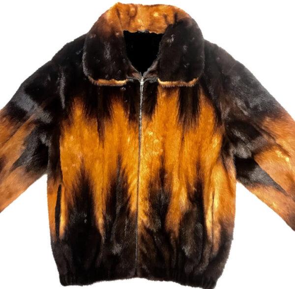 Black and Cognac Full Mink Fur Jacket