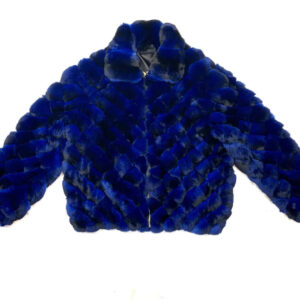 Blue Black Diamond Cut Full Chinchilla Coat