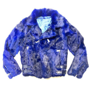 Blue Rabbit Fur Biker Jacket