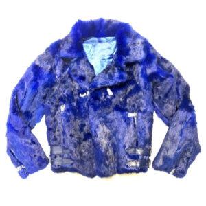 Blue Rabbit Fur Biker Jacket