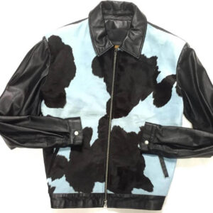 Blue and Black Cowhide Genuine Suede Leather Jacket
