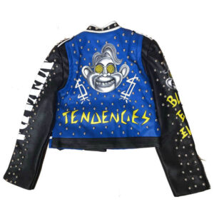 Blue and Black Punk Rock Studded Leather JacketBlue and Black Punk Rock Studded Leather Jacket