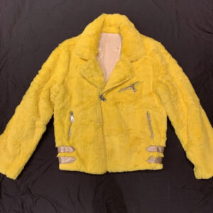 Canary Yellow Rabbit Fur Biker Jacket