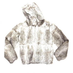 Charcoal Grey Rabbit Fur Hooded Jacket