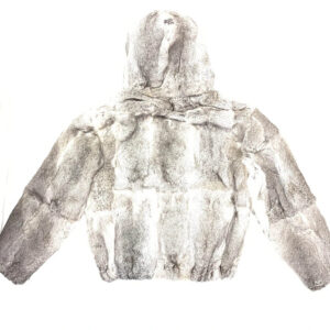 Charcoal Grey Rabbit Fur Hooded Jacket
