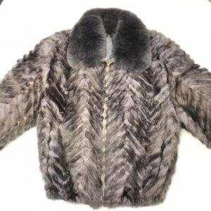 Charcoal Mink Tail Fur Fox Collar Jacket