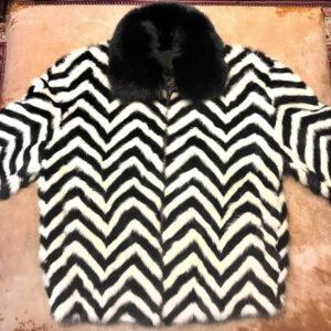 Chevron Black White Mink Tail Fur Jacket