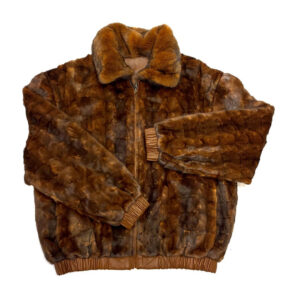 Cognac Reversible Leather Mink Jacket
