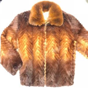 Cognac Two Tone Mink Tail Fur Jacket