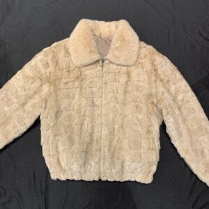Cream Diamond Cut Mink Bomber Jacket