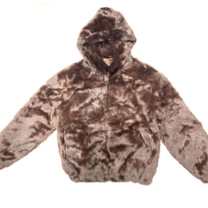 Dark Brown Rabbit Fur Hooded Bomber Jacket