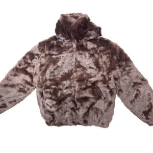 Dark Brown Rabbit Fur Hooded Bomber Jacket