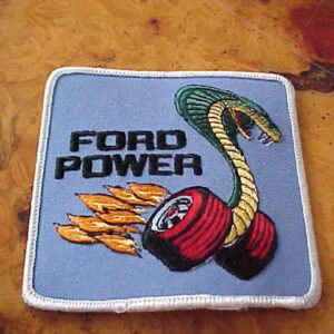 FORD POWER Cobra Snake on Flaming Wheels Logo Patch