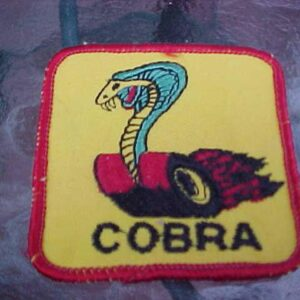 Ford Shelby Cobra Mustang Snake on Flaming Wheels Logo Patch