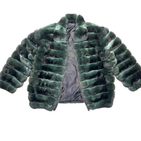Forest Green Full Chinchilla Fur Coat