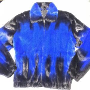 Full Mink Blue and Black Fur Jacket