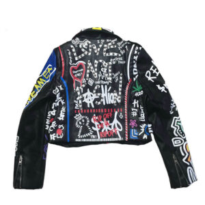 Graffiti Colorful Print Punk Rock Studded Leather Jacket Graffiti Colorful Print Punk Rock Studded Leather Jacket