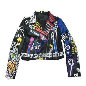 Graffiti Colorful Print Punk Rock Studded Leather Jacket