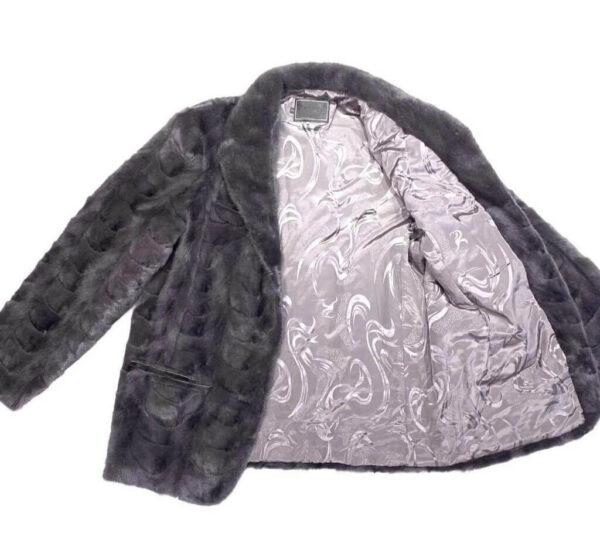 Grey Diamond Cut Mink Car Coat