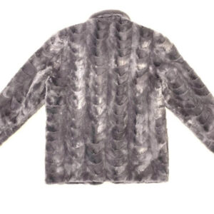 Grey Diamond Cut Mink Car Coat