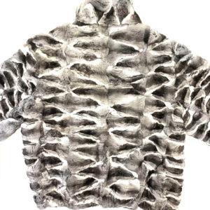 Grey and Black Chinchilla Bomber Fur Jacket