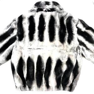 Grey and Black Full Chinchilla Fur Jacket