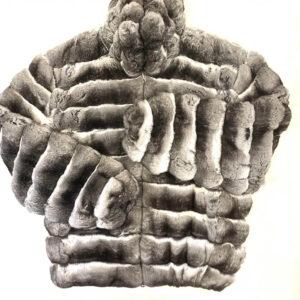 Grey and Black Full Skin Chinchilla Bomber Fur Jacket